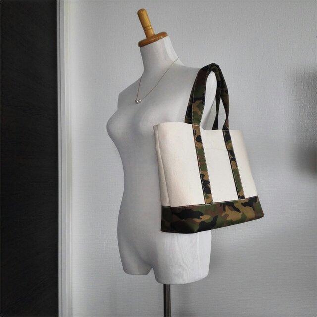 8号帆布xカモフラの肩掛けトートバッグLの画像1枚目