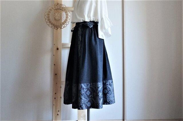 大島紬×ムラ糸コットンのスカート*紺色の画像1枚目