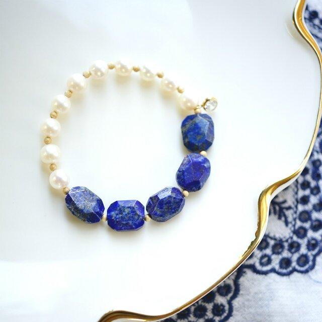 真珠とラピスラズリのブレスレット~Ivaの画像1枚目