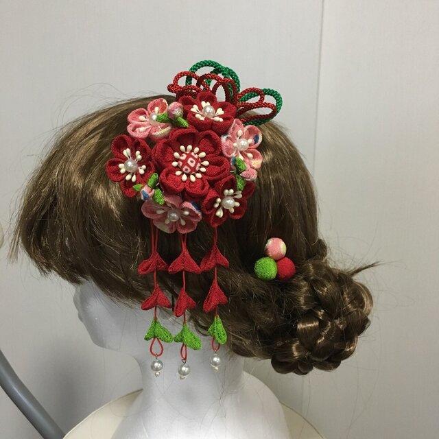 ブーケのような髪飾りセット3(成人式・卒業式・ちりめん細工)の画像1枚目
