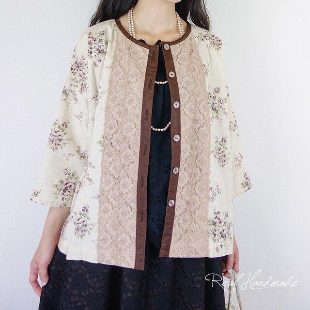 [予約販売] コットンリネンフラワードロップ羽織りカーディガンの画像1枚目