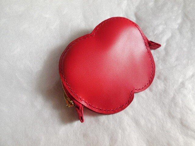 手縫いの革ポーチ りんごっ子の画像1枚目