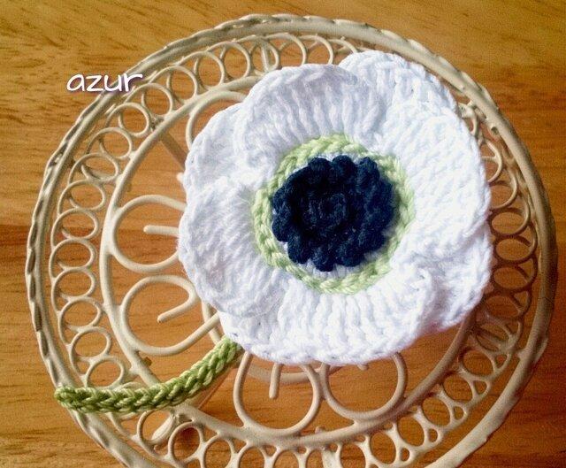 アネモネ1輪のコサージュC 白の画像1枚目