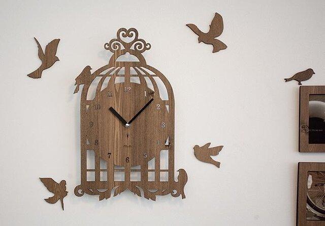 【ウォールクロック】BIRD HOUSE - ライトブラウンの画像1枚目