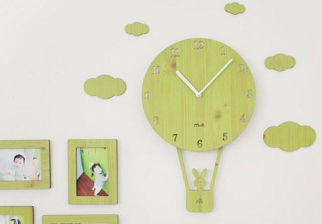 【ウォールクロック】SKY BALLOON - グリーンの画像1枚目