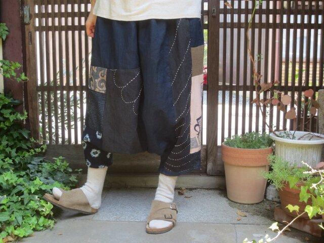 古布リメイク☆古い刺し子大風呂敷や藍染木綿でおとなサルエルパンツの画像1枚目
