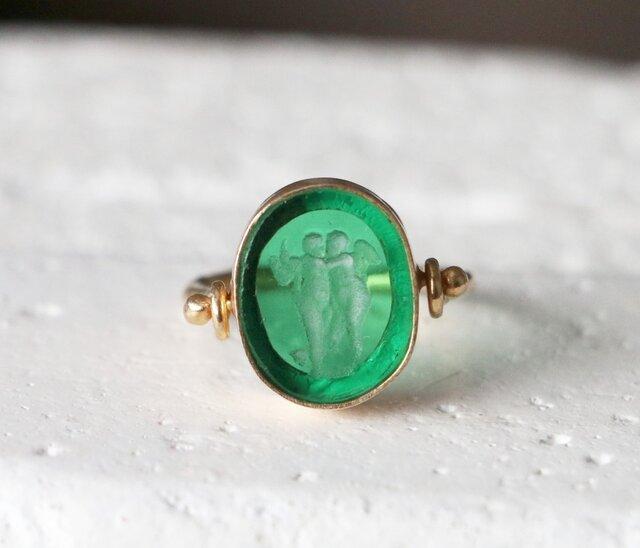 古代スタイル*グリーンベネチアン印章 指輪*17号の画像1枚目