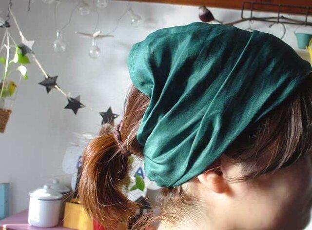 グリンリネン生地のヘアターバンの画像1枚目