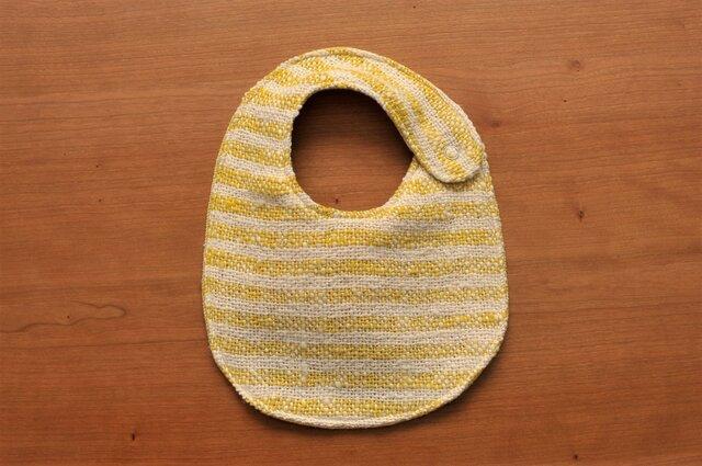 手織りベビースタイ(オーガニックコットン100%)リバーシブル:イエローボーダー&イエローの画像1枚目
