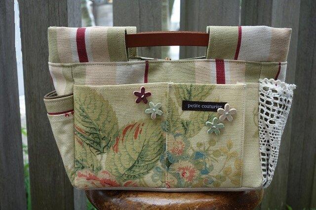 インしたくないバッグインバッグ(イギリス:エジンバラ花柄×ストライプ)の画像1枚目
