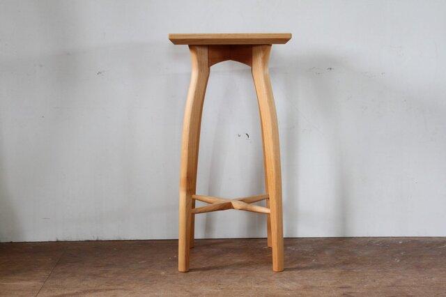 キッチンスツールR・アルダー材・座は四角の画像1枚目