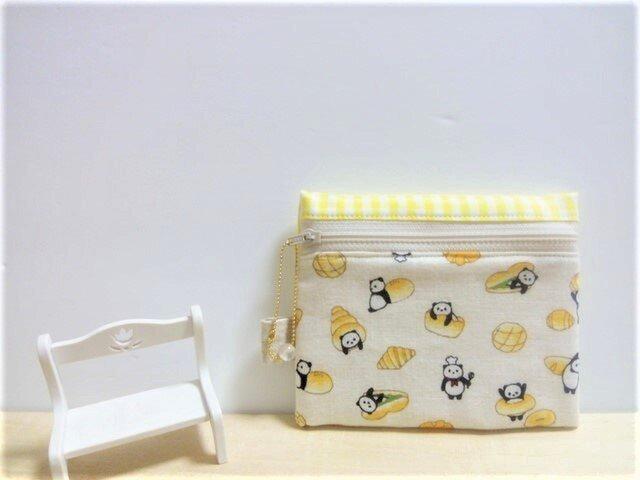 可愛いパンダのパン屋さん(Wガーゼ)ティッシュケース付きポーチ(レモン色)の画像1枚目