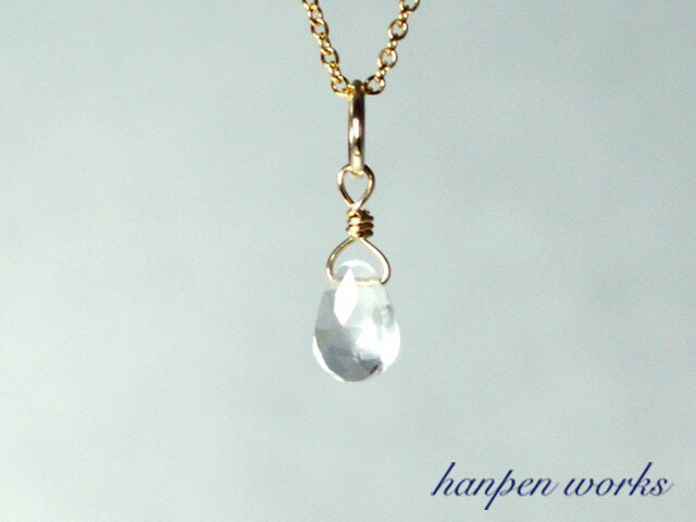 14kgf 4月の誕生石 宝石質 クリスタル (水晶) リング 一粒 ネックレスの画像1枚目