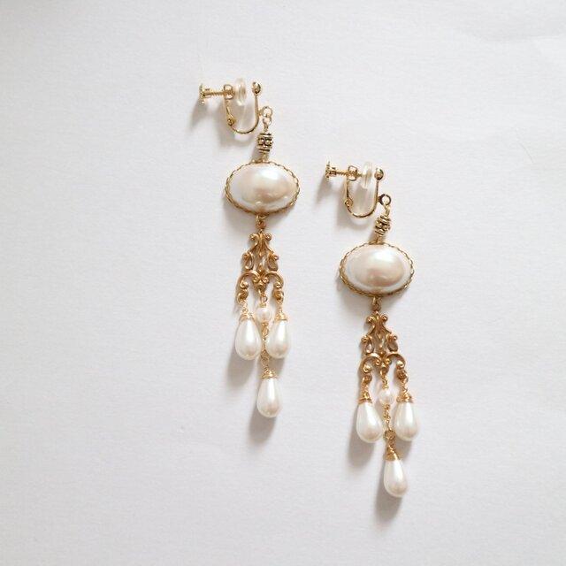 【再販】vintagestyle pearl chandelier earring/pierceの画像1枚目
