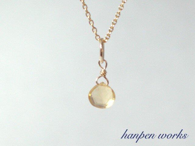 14kgf 11月の誕生石 宝石質 シトリン リング 一粒 ネックレスの画像1枚目