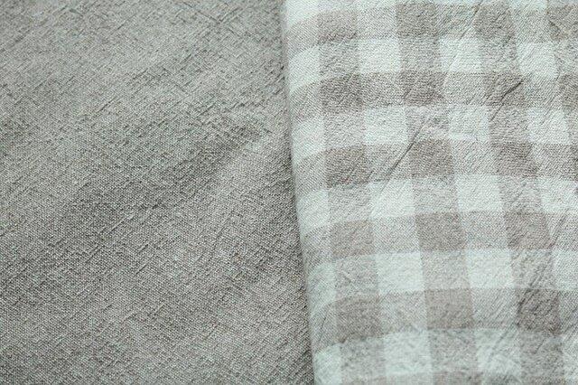 Y様オーダー商品/47cm丈カフェエプロン/コットンリネン(生成)×綿麻スペックチェック(モカ)生地の画像1枚目