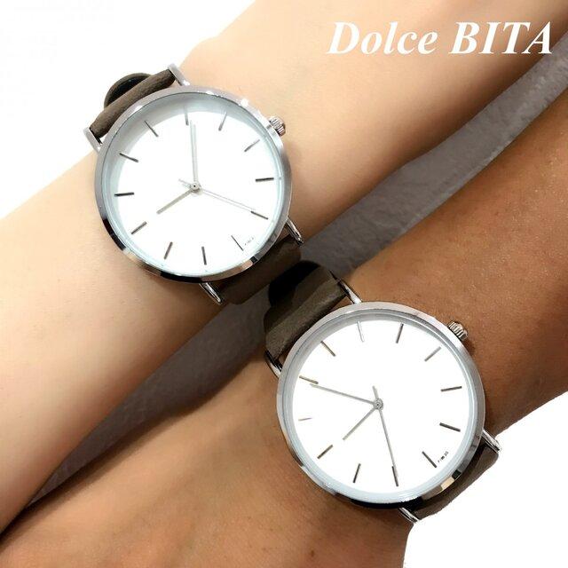 新色追加!! 2size カーキペアウォッチ 上品シンプル腕時計 <j-0056>の画像1枚目