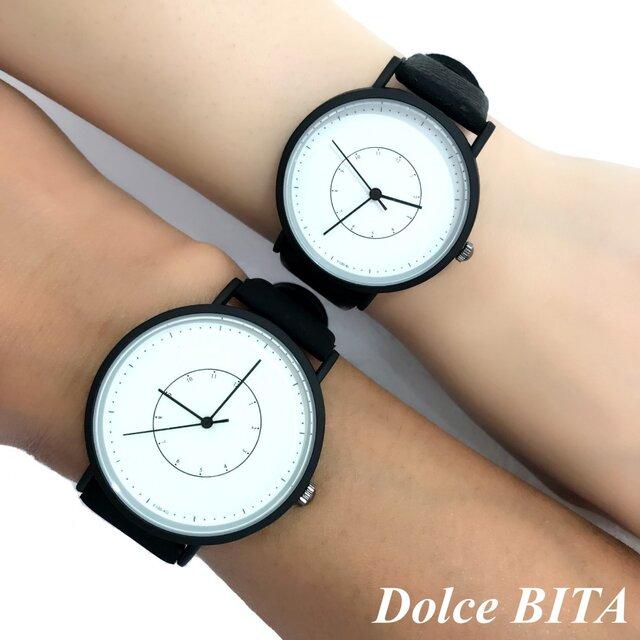 2size ブラックペアウォッチ 上品シンプル腕時計 <b-0024>の画像1枚目
