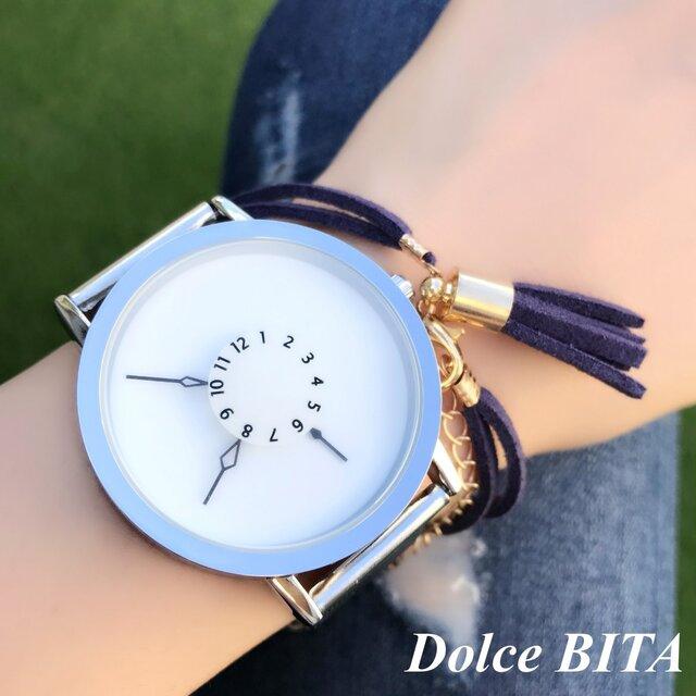ステンレス *シンプルペアウォッチ* ホワイト×ホワイト 腕時計 <d-004>の画像1枚目