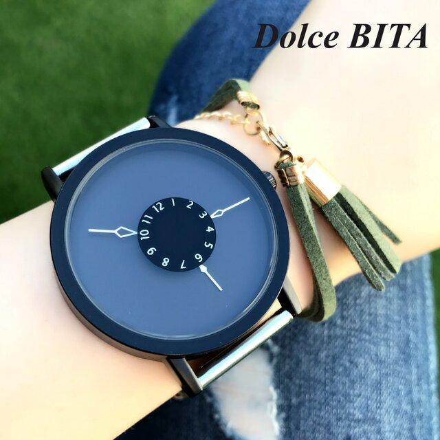 ステンレス *シンプルペアウォッチ* ブラック×ブラック 腕時計 <d-001>の画像1枚目