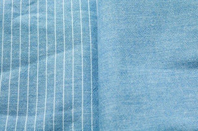 Y様オーダー商品/47cm丈カフェエプロン/綿麻スペックストライプ(ブルー)×綿麻スペック無地(ブルー)の画像1枚目