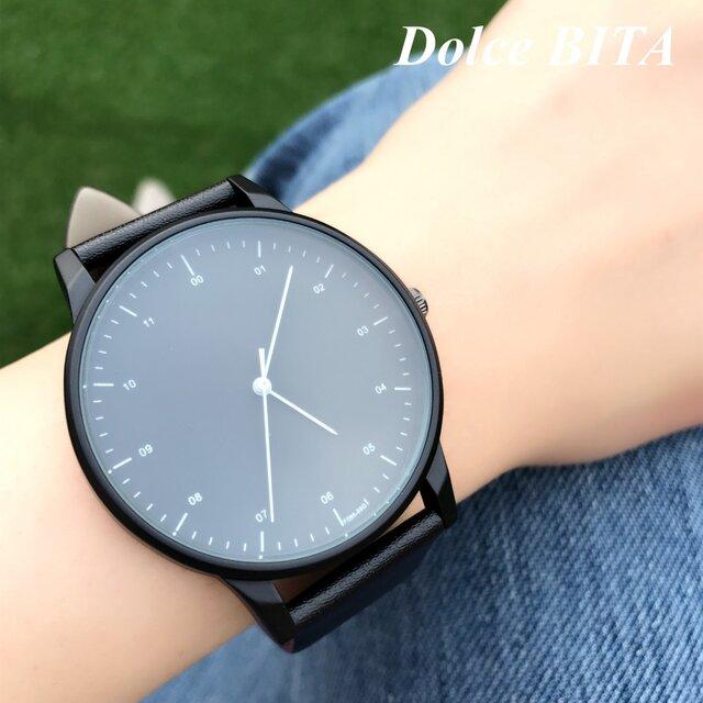 クールスタイリッシュ ブラックシンプル腕時計 ペアウォッチ<e-011>の画像1枚目