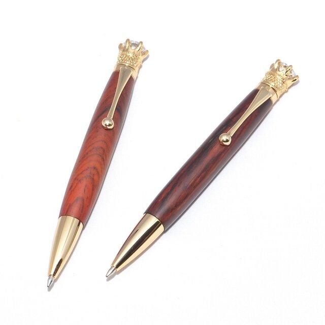 手作りの木製の回転式ボールペン(ココボロ;24金のメッキ)(CJ-24G-CO)の画像1枚目