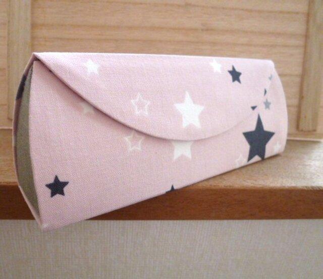 【受注制作】メガネケース(79)ベビーピンク星×グレーリネンの画像1枚目