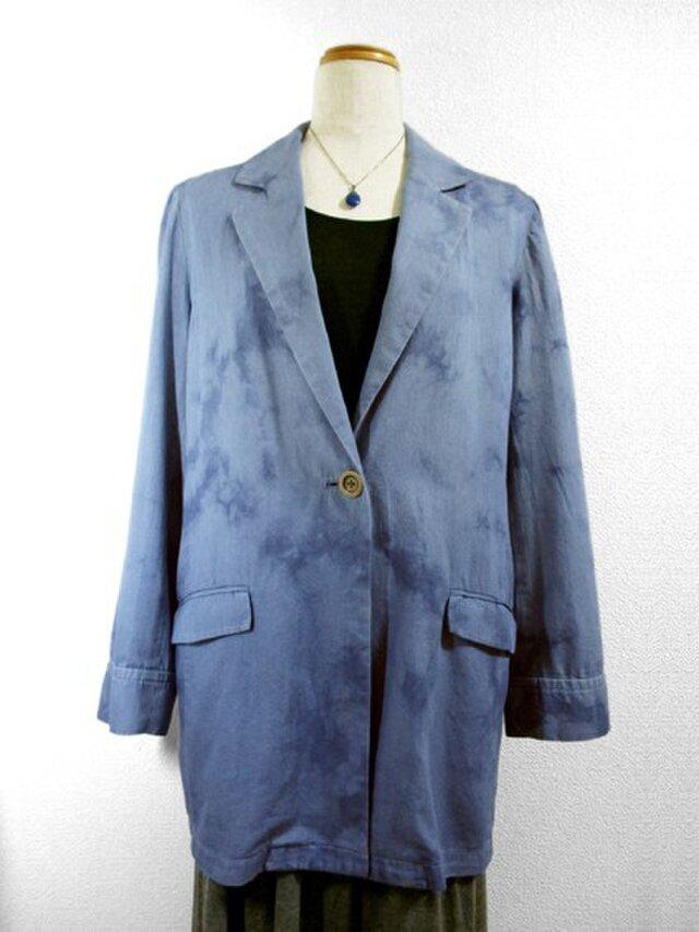 デニムジャケット(ムラ絞り染・青色濃淡)の画像1枚目