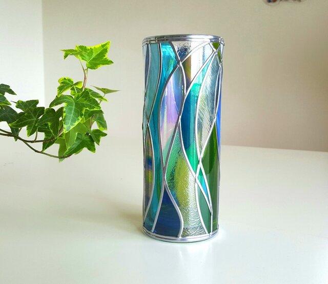 GlassArt☆ガラス円形花瓶『セノーテ』の画像1枚目