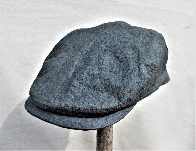 機能性和紙帽子ハンチングナチュラルダークブルーの画像1枚目