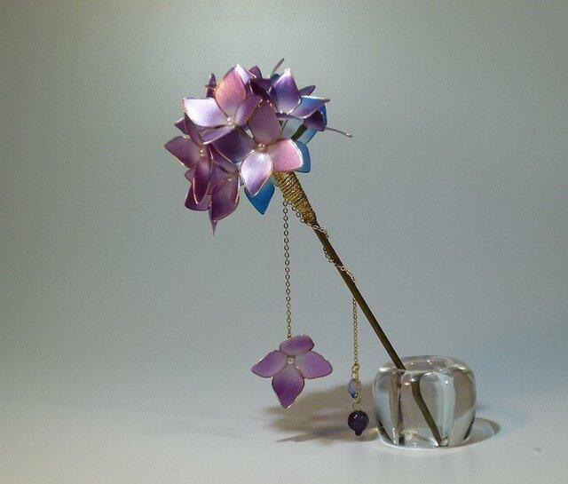 紫陽花(紫&青) 一本簪の画像1枚目