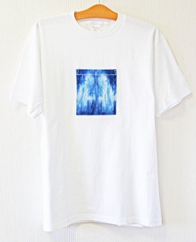 藍染め 半袖 XXL 白Tシャツ  綿 メンズ ユニセックス (AT-48)の画像1枚目