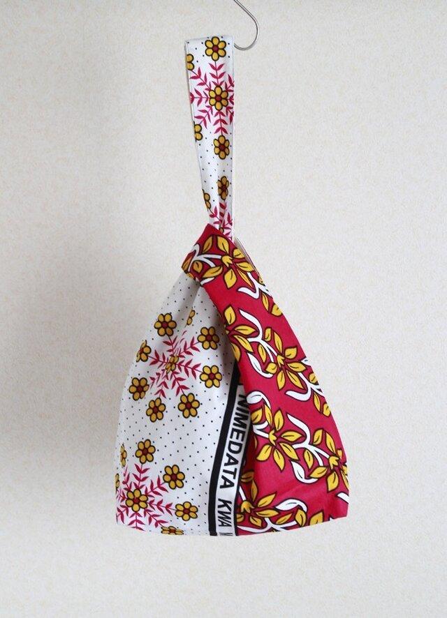 アフリカ布( カンガ )の ノットバッグの画像1枚目