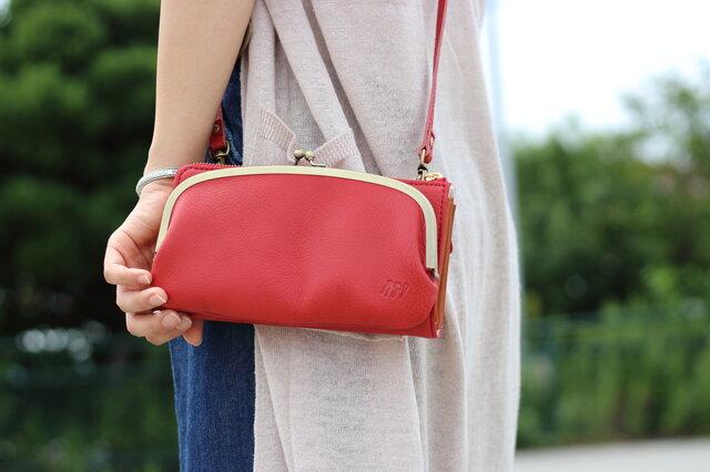 【送料無料】お財布ショルダー レッド がま口 スマホ財布 姫路レザー 赤aw-17nnsの画像1枚目