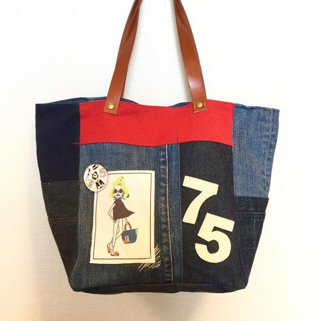最新作☆デニム&倉敷8号帆布トートバッグ Mサイズ 十子♡茶革city#04の画像1枚目