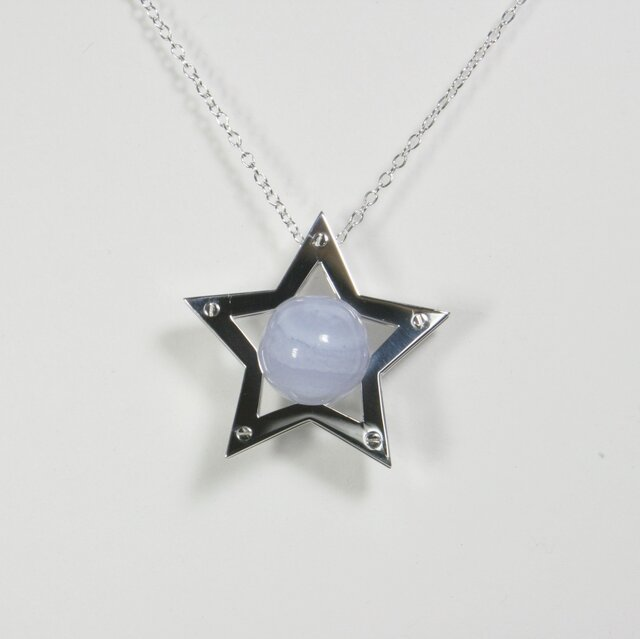 Sphere in the Star Pendant Silver BlueLaceAgate 星 ペンダント の画像1枚目