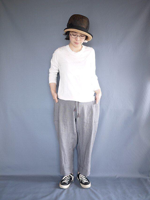 linen sidepocket pants (bluegray)の画像1枚目