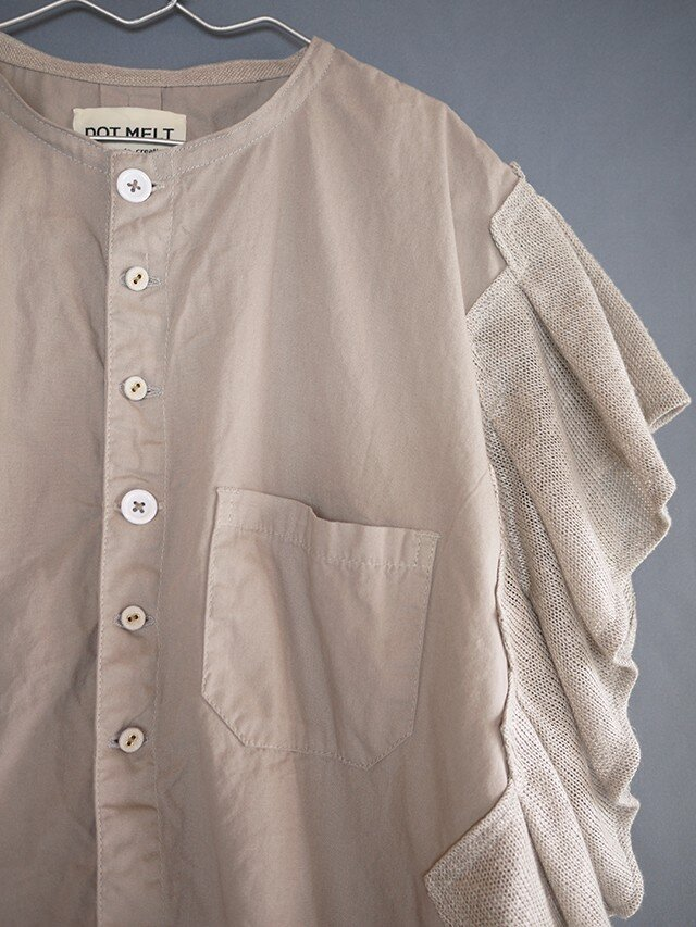 Grandpa shirt remake zigzagsleeve (gray1)の画像1枚目