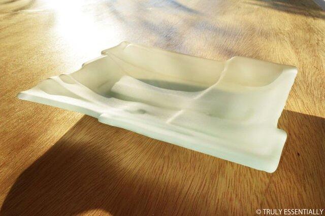 ガラスのお皿 -「 かくいガラス 」● 18x14cm・つや消しの画像1枚目