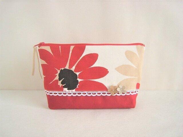 かわいいフラワーモチーフ付き花柄のポーチ(赤)の画像1枚目