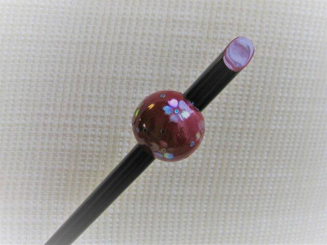 再販 漆螺鈿かんざし・桜赤の画像1枚目