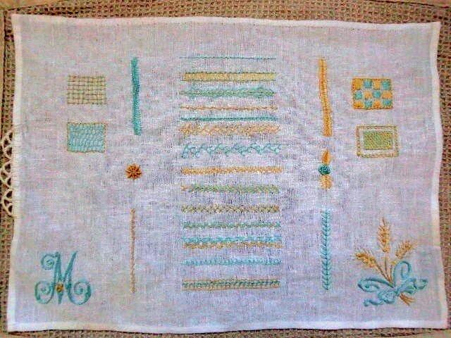 刺繍ステッチサンプラー №1(ブルー×クリーム) の画像1枚目