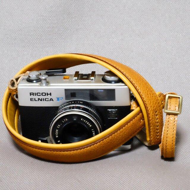 やわらか 革のカメラストラップ キャメルの画像1枚目