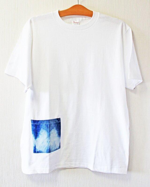藍染め 半袖 L 白Tシャツ  綿 メンズ ユニセックス (AT-49)の画像1枚目