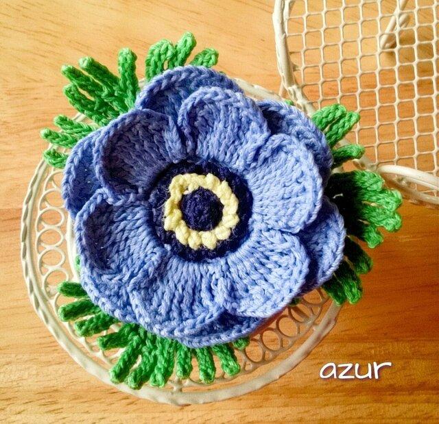 アネモネ1輪のコサージュ(大) 青紫の画像1枚目