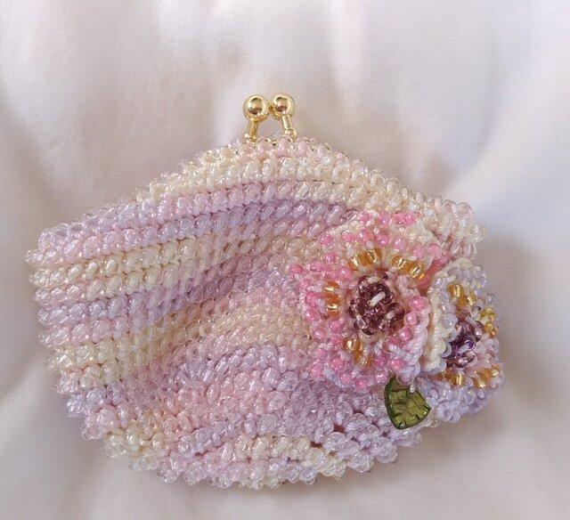 ビーズ編みがま口財布 花付の画像1枚目
