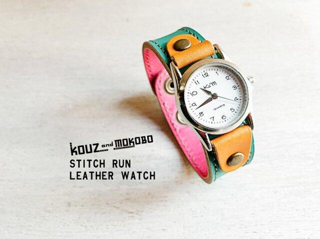 ▲STITCH ターコイズのおめかしタイム「ステッチラン 腕時計」見やすい文字盤(SRW-TPC-HA)の画像1枚目