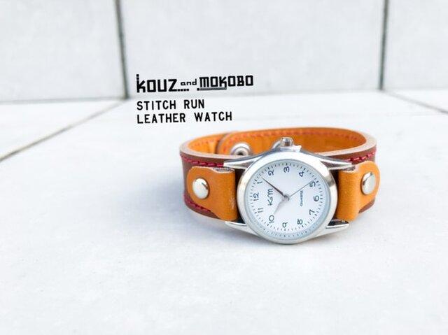 ▲STITCH レトロポップなバイカラー「ステッチラン 腕時計」メンズライク(SRW-BCC-RS)の画像1枚目