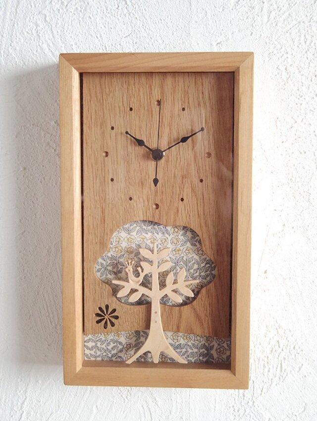 box clock 木と鳥 リバティの画像1枚目